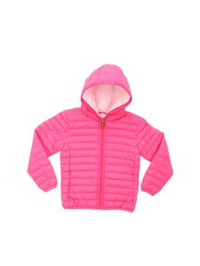 Save the duck - Bright pink hooded down jacket with logo
