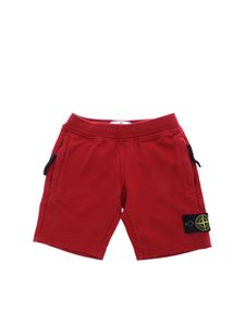 Stone Island Junior - Red cotton shorts with logo
