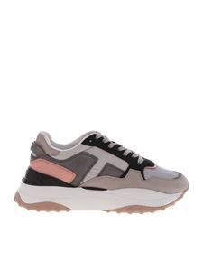 Tod's - Sneakers in gray and pink leather and fabric