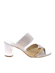 Casadei - Sandals in silver and golden braided leather