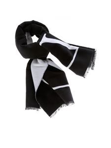 Valentino - Black and white scarf with jacquard logo