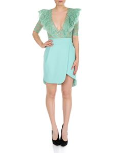 Elisabetta Franchi - Dress in aquamarine color with lace top