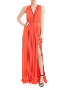 Elisabetta Franchi - Red long dress with applied metal chain