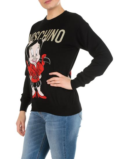 88baebd0b2 Moschino Spring Summer 2019 porky pig looney tunes pullover in black ...