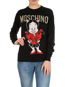 Moschino - Pullover Porky Pig Looney Tunes nero