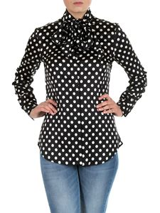 Moschino - Black polka dot shirt with bow tie
