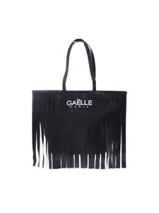 Gaelle Paris - Fringed shopping bag in black with Gaelle Paris print