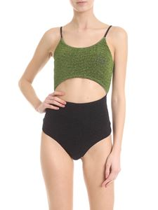 GCDS - One-piece swimsuit in black and green lame
