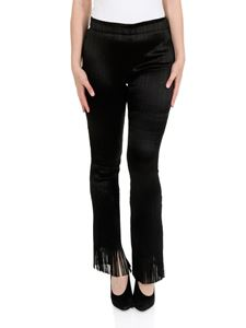 Chloé - Black pleated trousers with fringed bottom