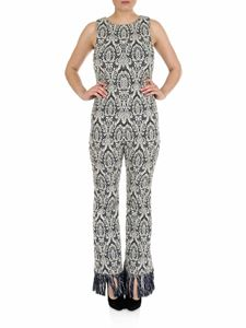 Chloé - Jacquard sleeveless jumpsuit in blue and white