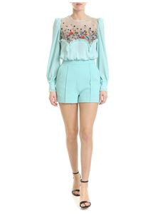Elisabetta Franchi - Light blue short jumpsuit with multicolor embroidery