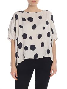 Manila Grace - Cropped blouse with black polka dots