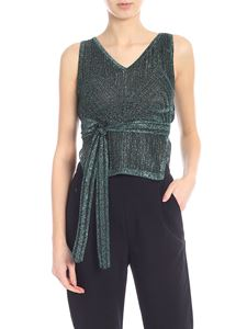 M Missoni - Knitted lamè top in black and green
