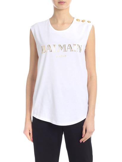 f44de043aae11 Balmain Spring Summer 2019 top in white with golden logo - RF01162 ...