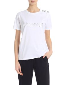 Balmain - T-shirt in white with silver laminated logo