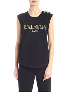 Balmain - Top in black with golden laminated logo