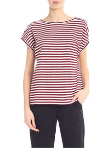 Jucca - Striped T-shirt in burgundy and cream color