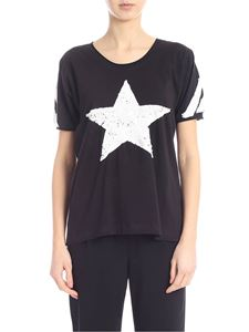 Parosh - T-shirt in black with contrasting sequins