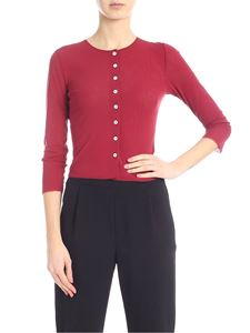Jucca - Cropped tulle cardigan in burgundy