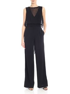 Jucca - Crepe jumpsuit in black with applied top