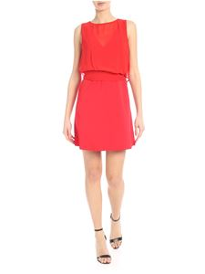 Jucca - Crepe dress in red with applied top