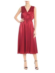 Jucca - Satin midi dress in burgundy