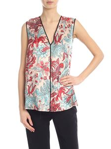 Jucca - Satin top in pink with contrasting floral print