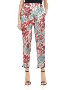 Jucca - Satin trousers in pink with contrasting floral print