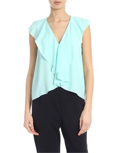 Jucca - Top in green mint with ruffles