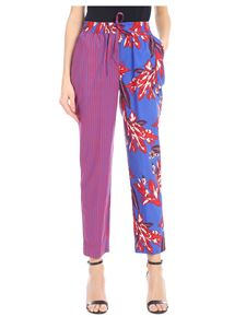Parosh - Trousers in blue and red with multi pattern