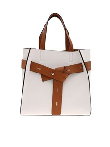 Manila Grace - Marta shoulder bag in white and brown