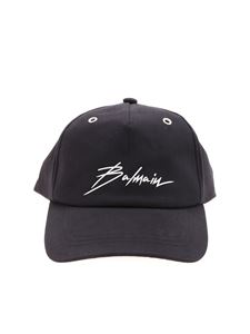 Balmain - Black hat with Signature silver logo
