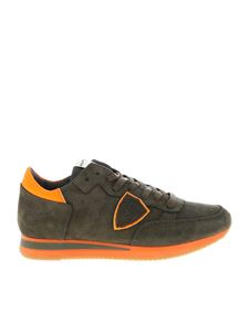Philippe Model - Tropez L sneakers in army green and neon orange