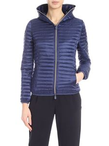 Save the duck - Waisted down jacket in blue with hood