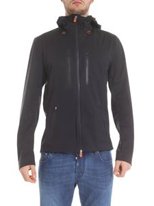 Save the duck - Hooded jacket in black technical fabric