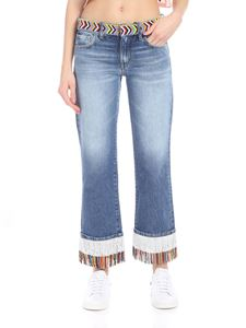 Alanui - Blue boyfriend jeans with micro beads embellishment
