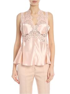 Stella McCartney - Pink satin top with lace embellishment