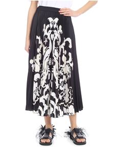 Valentino - Pleated skirt in black satin with Fenice print