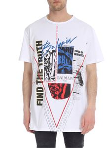 Balmain - White oversize T-shirt with multicolor print