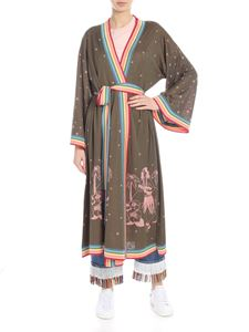 Alanui - Green silk kimono with hawaii motif