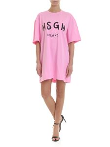 MSGM - Short dress in pink with MSGM print