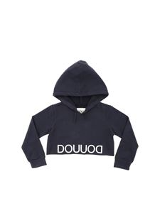 DOU UOD - Charcoal grey crop sweatshirt with logo print