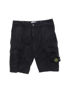 Stone Island Junior - Faded-effect bermuda in black