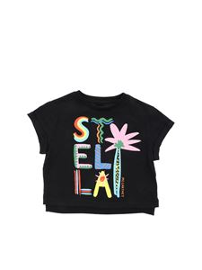 Stella McCartney Kids - T-shirt in black with multicolor logo print