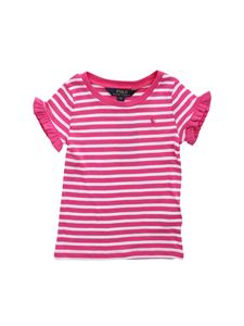 POLO Ralph Lauren - T-shirt in fucshia and white stripes with ruffles