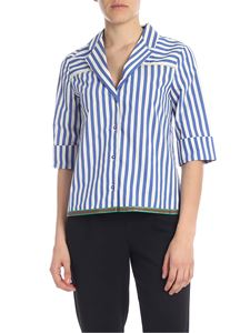 Manila Grace - Striped shirt in blue and white