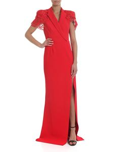 Elisabetta Franchi - Long dress in red with lace insert