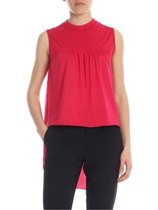 Manila Grace - Flared crewneck top in cherry red