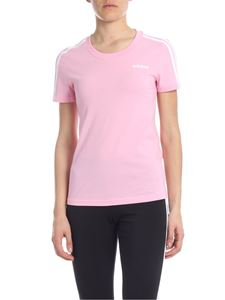 Adidas - Crew neck t-shirt in pink with three white stripes