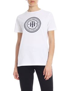 Tommy Hilfiger - Crew-neck t-shirt in white with blue print and rhinestones